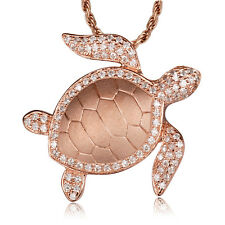 ORO ROSA EN MacIzo Plata de ley 925 HAWÁI Sea Turtle Honu Pendiente