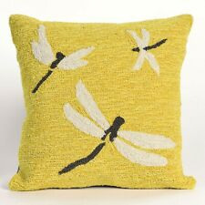"""Pillows - """"Dragonfly Dance"""" Tufted Indoor Outdoor Pillow - 18"""" Square - Yellow"""