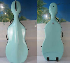 Excellent light Blue fiberglass cello hard case 4/4 with wheells