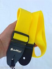 NEW GUITAR STRAP ACOUSTIC & ELECTRIC YELLOW NYLON SOLID LEATHER ENDS MADE IN USA