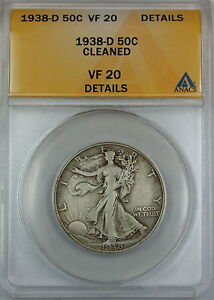 1938-D Walking Liberty Silver Half Dollar, ANACS VF-20 Details, Cleaned Coin