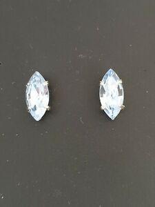Lovely Teardrop Navette Stud Earrings using Light Sapphire. Made in UK