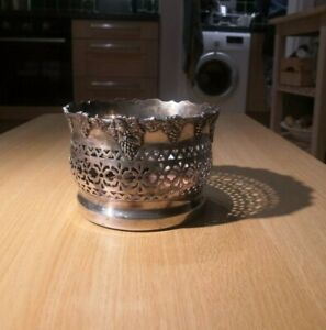 Silver Fruit bowl - Antique - Grapes - 6inches W - Wine Bottle Coaster- Conti