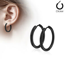 Pair 316L Surgical Steel Hinge Action Seamless Hoop Earrings / Black IP