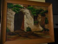 Vintage Oil on Canvas Painting of Old Adobe House Signed Perron SS Williams