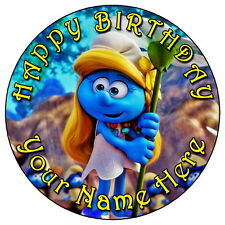 "THE SMURFS SMURFETTE PARTY - 7.5"" PERSONALISED EDIBLE ICING CAKE TOPPER"