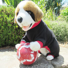 "Black with red collar. Polar Fleece Onsie/Dog Coat/Pajamas. 3XL - 30"" L. 36"" W"