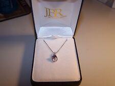J B ROBINSON JEWELERS AMETHYST & DIAMONDS STERLING SILVER PENDANT  & CHAIN