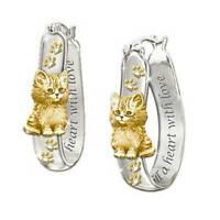 Lovely Cat Two Tone Hoop Earrings for Women 925 Silver Earrings Jewelry A Pair