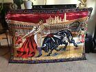"Vintage Mexican Spanish Bull Fighting Matador Coliseum Wall Art Tapestry 57""x39"""