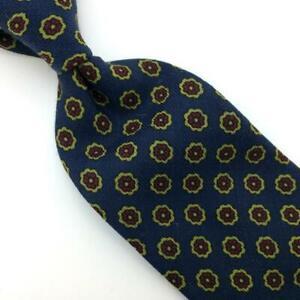 Robert Talbott England Tie Challie Handblocked Wool Floral Necktie Navy I18-523