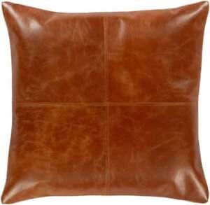 NOORA Lambskin leather Barrington Burnt Orange Square Pillow Cover BS23