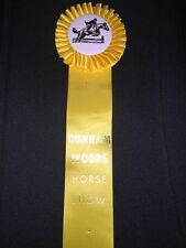 Vintage Yellow Horse Show Ribbon Dunham Woods Award Equestrian Win Place Medal