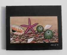 Kina Starfish Pippies Pebbles Nautilus NZ Pacifika - Original Painting by Astrid