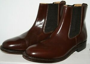 Samuel Windsor Men's Brown Leather Slip On Chelsea Ankle Boots Shoes Size 8