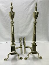 """Antique Vtg Brass Fireplace Andirons Large 30"""" Chippendale Empire Federal Claw F"""
