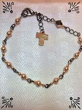 Handcrafted Rosary Bracelet MADE WITH Swarovski Rose Gold And Gun Metal Links