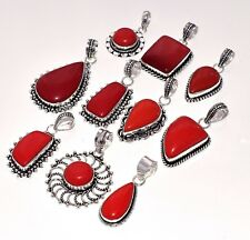 Awesome Lot 20Pcs. Natural RED CORAL 925 Sterling Silver Plated Pendant Jewelry