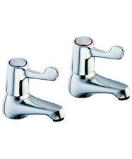 Twyford Sola lever action basin pillar tap pair in chrome. SF2401CP