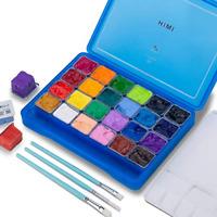 Gouache Paint Set 24 Colors x 30ml Unique Jelly Cup Design with 3 Paint Brushes
