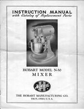 Hobart N50 Mixer Instructions Operator Parts Manual & Service Manual Set on Cd