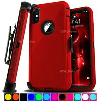 For Apple iPhone X XR XS MAX Shockproof Protective Rugged Case With Belt Clip