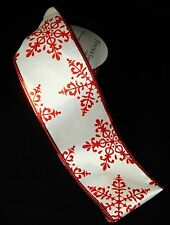 """Red Glitter Snowflake on White Wired Ribbon Bow Christmas Craft 2.5"""" x 4 yards"""