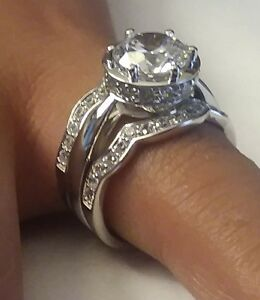 3pcs Over 3 ctw CZ Engagement Wedding Ring set 10K solid w/Gold size 6