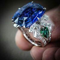 Huge Sapphire& Peridot 925 Silver Ring Women Jewelry Wedding Engagement  Sz 6-10