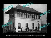 OLD LARGE HISTORIC PHOTO OF WATERBURY CONNECTICUT 219 RAILROAD SIGNAL TOWER 1900