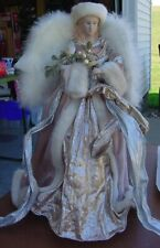 """Victorian Angel  Christmas Tree Topper Faux Fur and Feathers 16"""" Tall"""