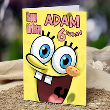 EXTRA LARGE Sponge Bob **Personalised A4 Birthday Card** Square Pants Patrick