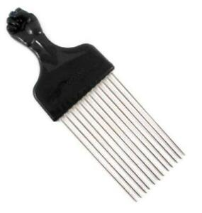 Afro Pick w/ Black Fist - Metal African American Hair Comb Straight