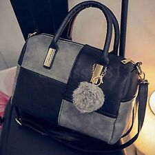 Women Leather Handbag Shoulder Purse Tote Satchel Messenger Crossbody Bag Black
