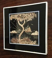 Small Chinese Framed Carved Cork Picture  c1960