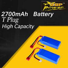 2PCS ZOP Power 2700mAh 7.4V 20C 2S Lipo Battery T Plug for Wltoys 10428 RC Car