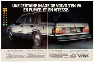 1985 VOLVO 760 Turbo Vintage Original 2 page Print AD Dragster start line Canada