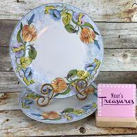 American Atelier FLORAL GARDEN 5088  Porcelain Floral Blue Dinner Plates Set Two