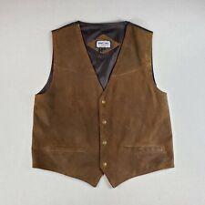 Minnetonka Leather Tuxedo Suit Vest Brown Cowboy Western Men's Xl Pre-owned Guc