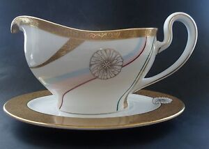 Minton Artemis Gravy Boat & Stand (22 Carat Gold) Brand New Made in England
