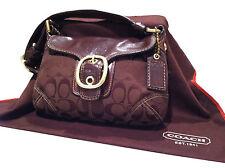MINT! CHOCOLATE BROWN COACH SIGNATURE BUCKLE LEGACY BLEEKER FLAP HAND BAG 11441