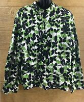Dressbarn Women's Jacket Size 20W Green Black White Zip Up Dressy Coat Leaves