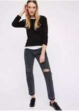 Free People LEVI'S 505c CROPPED JEANS 32 Gray Fray SUMMER OF LOVE High WaistNewf