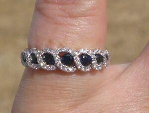 $ 4,200 Natural Ceylon Sapphires Diamonds 18k White Gold Ring.
