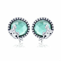 Wostu Mermaid Love 925 Sterling Silver Stud Earrings Fashion Women Jewelry Gifts
