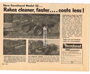 1961 Farmhand Model 25 Hay Rake Vintage Ad