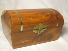 "vintage wooden Famous One Log House treasure chest locking cedar 6"" trinket box"