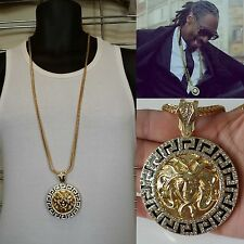 New Mens Iced Out Round Medallion Greek God Pendant Gold Franco Chain Necklace