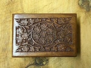Carved Wood Box, Floral Design with Hinged Lid
