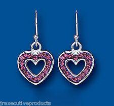 Sterling Silver Heart Purple Crystal Earrings
